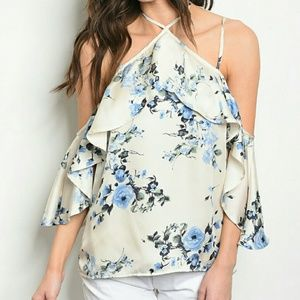Tops - Dressy Ruffle Tank Top Floral Cold Shoulder Blouse